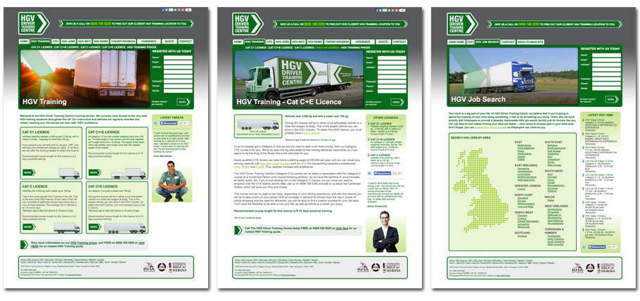HGV Driver Training Centre website pages