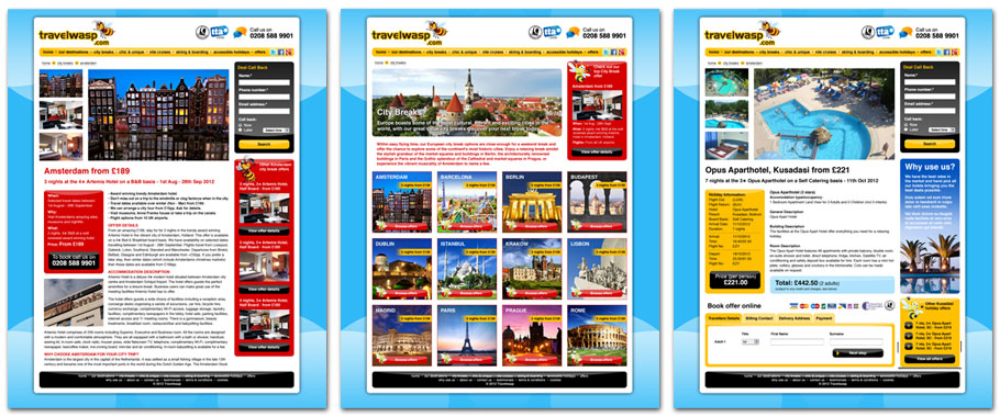Travelwasp website pages