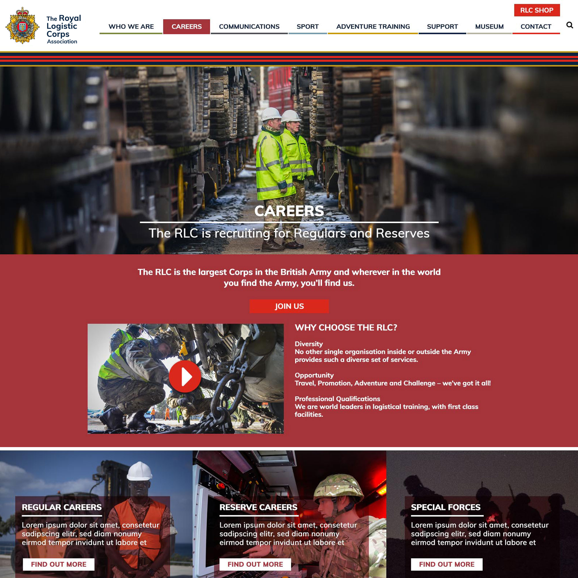 royal logistic corps new careers page